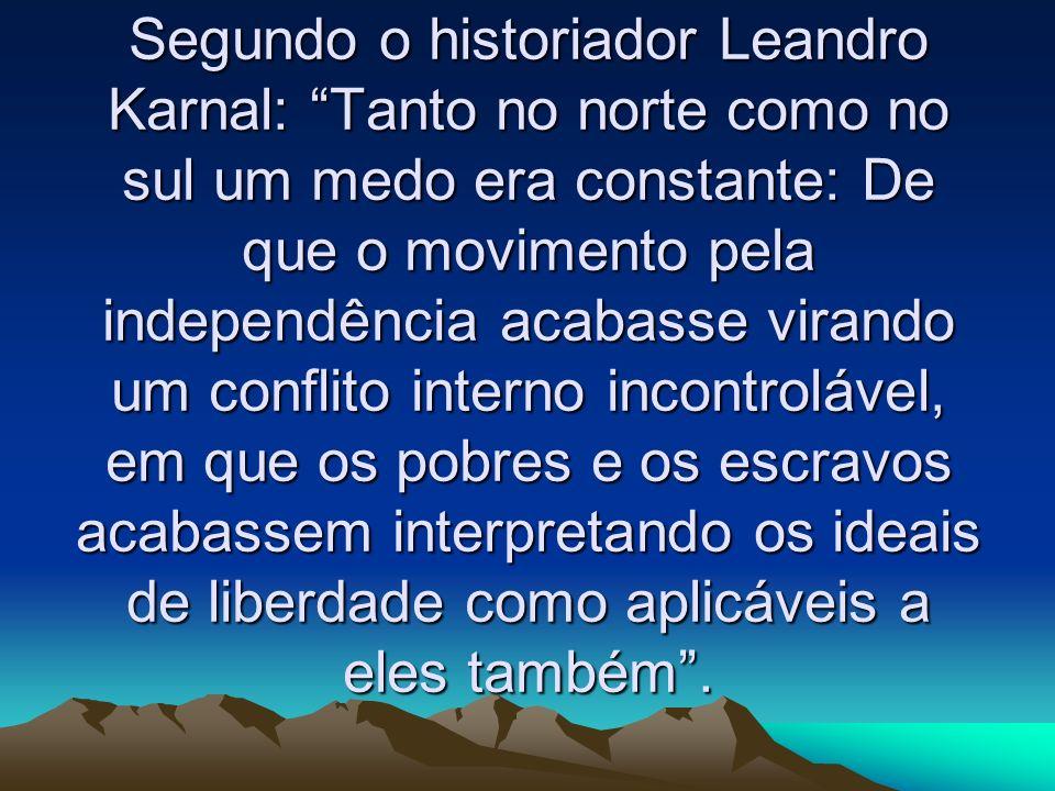 Segundo o historiador Leandro Karnal: Tanto no norte como no sul um medo era constante: De que o movimento pela independência acabasse virando um conf