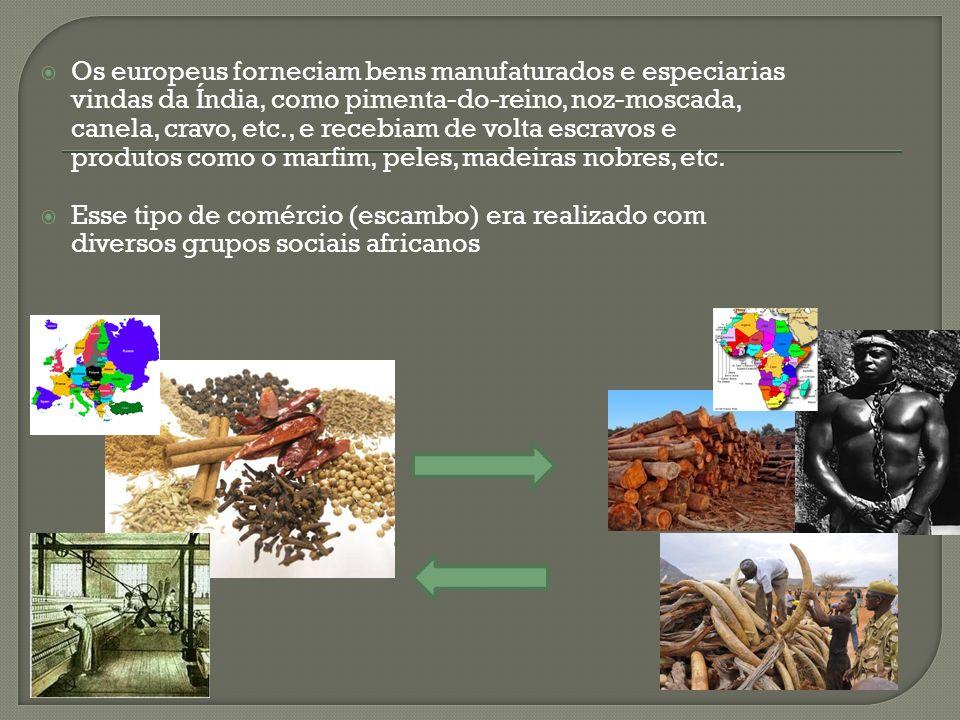 Os europeus forneciam bens manufaturados e especiarias vindas da Índia, como pimenta-do-reino, noz-moscada, canela, cravo, etc., e recebiam de volta e
