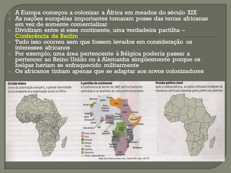 A Europa começou a colonizar a África em meados do século XIX As nações européias importantes tomaram posse das terras africanas em vez de somente com