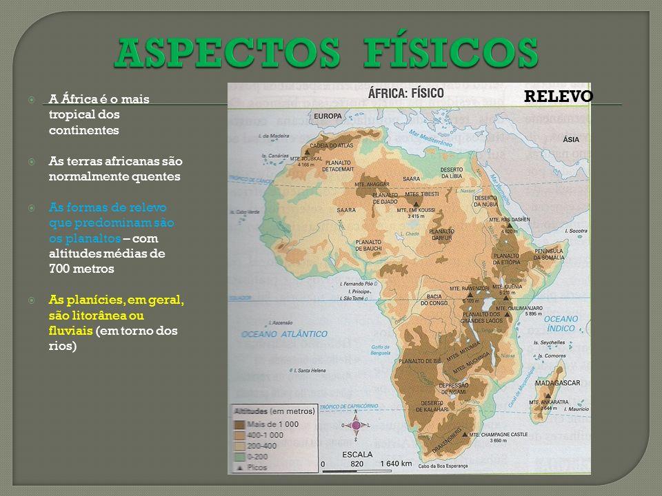 A África é o mais tropical dos continentes As terras africanas são normalmente quentes As formas de relevo que predominam são os planaltos – com altit