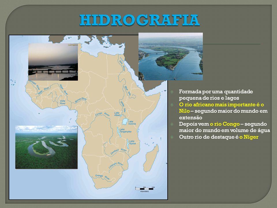 Formada por uma quantidade pequena de rios e lagos O rio africano mais importante é o Nilo – segundo maior do mundo em extensão Depois vem o rio Congo