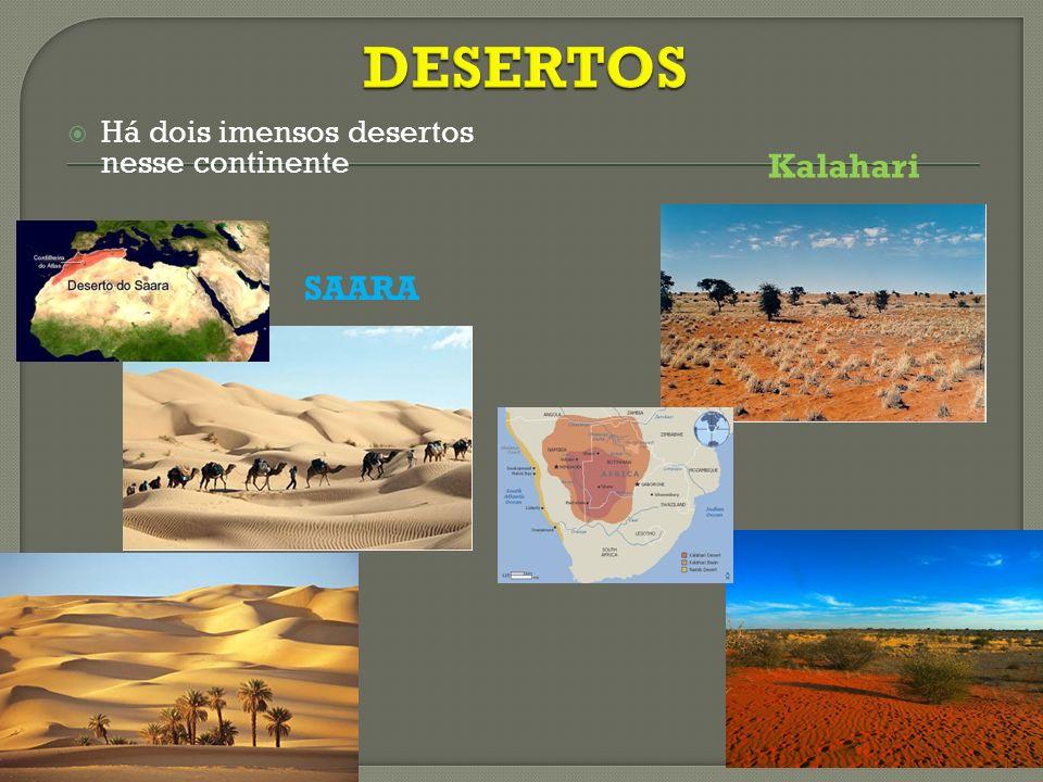 Há dois imensos desertos nesse continente SAARA Kalahari