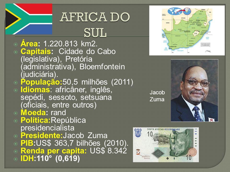 Área: 1.220.813 km2. Capitais: Cidade do Cabo (legislativa), Pretória (administrativa), Bloemfontein (judiciária). População:50,5 milhões (2011) Idiom
