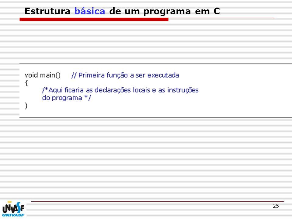 25 Estrutura básica de um programa em C