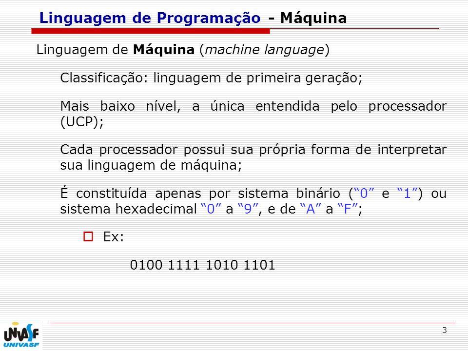 3 Linguagem de Programação - Máquina Linguagem de Máquina (machine language) Classificação: linguagem de primeira geração; Mais baixo nível, a única e