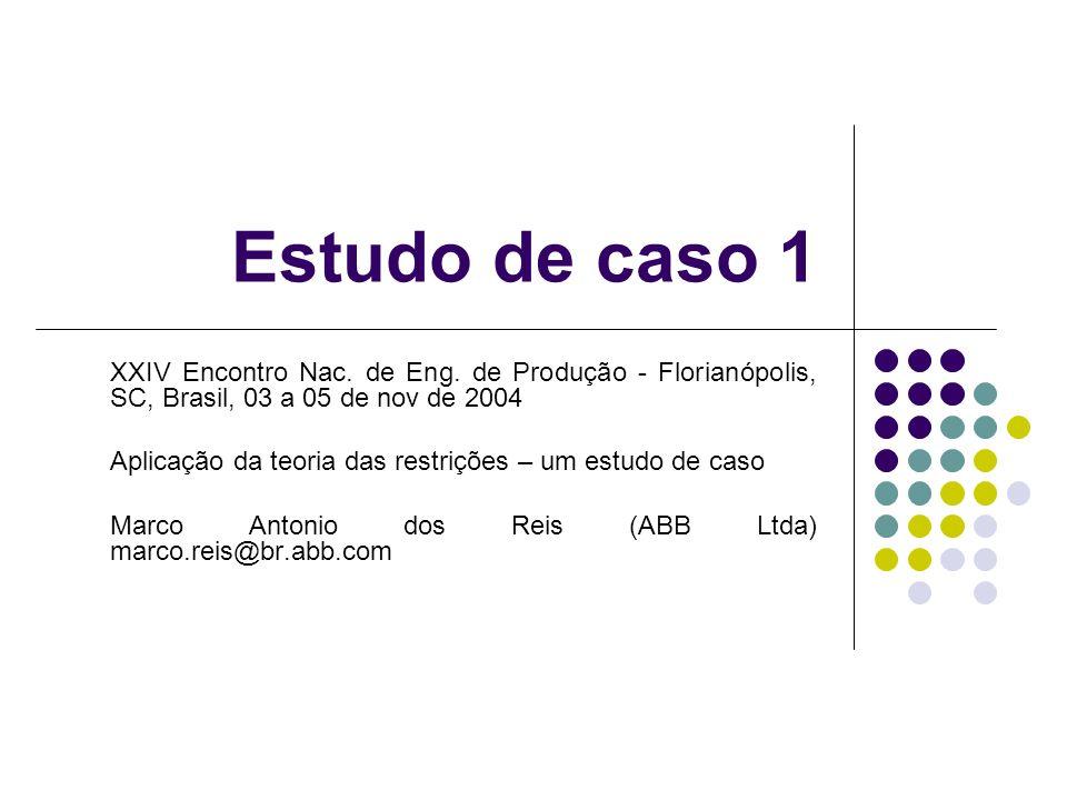 Aplicação da teoria das restrições – um estudo de caso Esta aplicação foi desenvolvida no setor automotivo.
