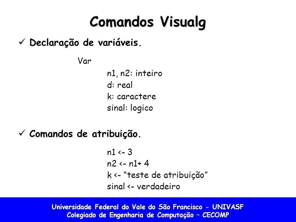 Universidade Federal do Vale do São Francisco - UNIVASF Colegiado de Engenharia de Computação – CECOMP Comandos Visualg Declaração de variáveis. Var n