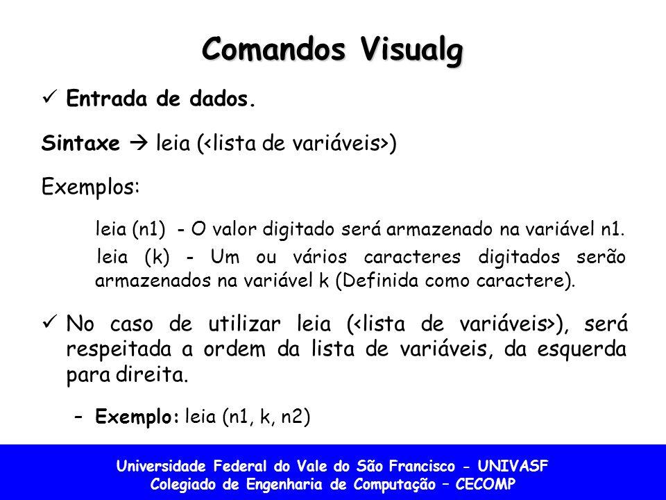Universidade Federal do Vale do São Francisco - UNIVASF Colegiado de Engenharia de Computação – CECOMP Comandos Visualg Entrada de dados. Sintaxe leia