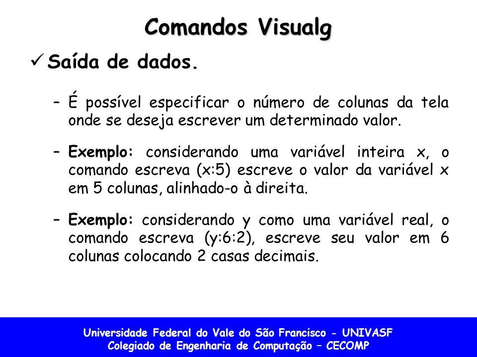 Universidade Federal do Vale do São Francisco - UNIVASF Colegiado de Engenharia de Computação – CECOMP Comandos Visualg Saída de dados.