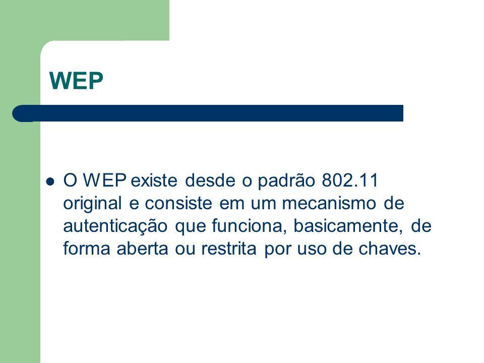 WEP O WEP existe desde o padrão 802.11 original e consiste em um mecanismo de autenticação que funciona, basicamente, de forma aberta ou restrita por
