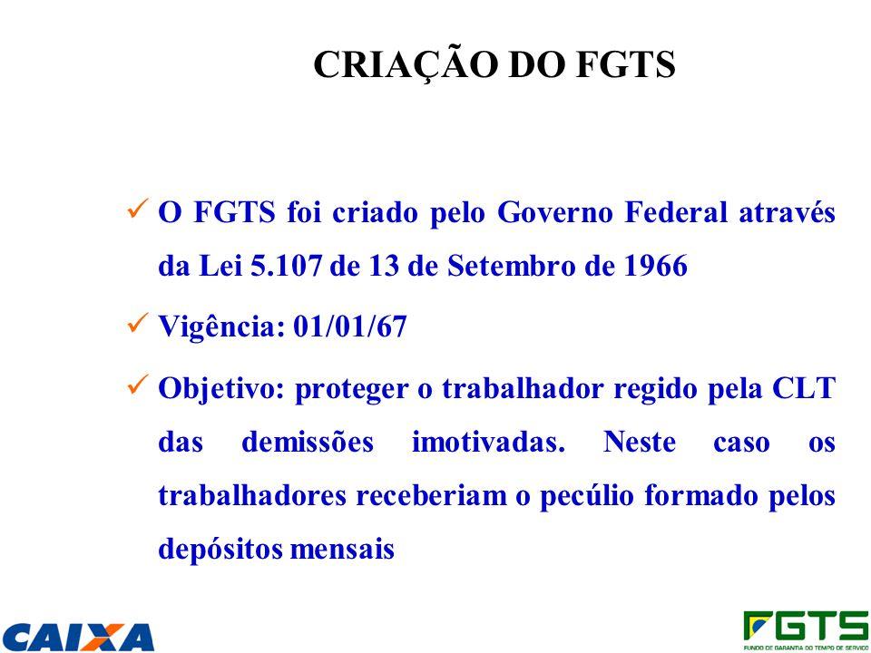 CRIAÇÃO DO FGTS O FGTS foi criado pelo Governo Federal através da Lei 5.107 de 13 de Setembro de 1966 Vigência: 01/01/67 Objetivo: proteger o trabalhador regido pela CLT das demissões imotivadas.