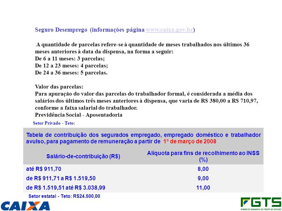 Seguro Desemprego (informações página www.caixa.gov.br)www.caixa.gov.br A quantidade de parcelas refere-se à quantidade de meses trabalhados nos últimos 36 meses anteriores à data da dispensa, na forma a seguir: De 6 a 11 meses: 3 parcelas; De 12 a 23 meses: 4 parcelas; De 24 a 36 meses: 5 parcelas.