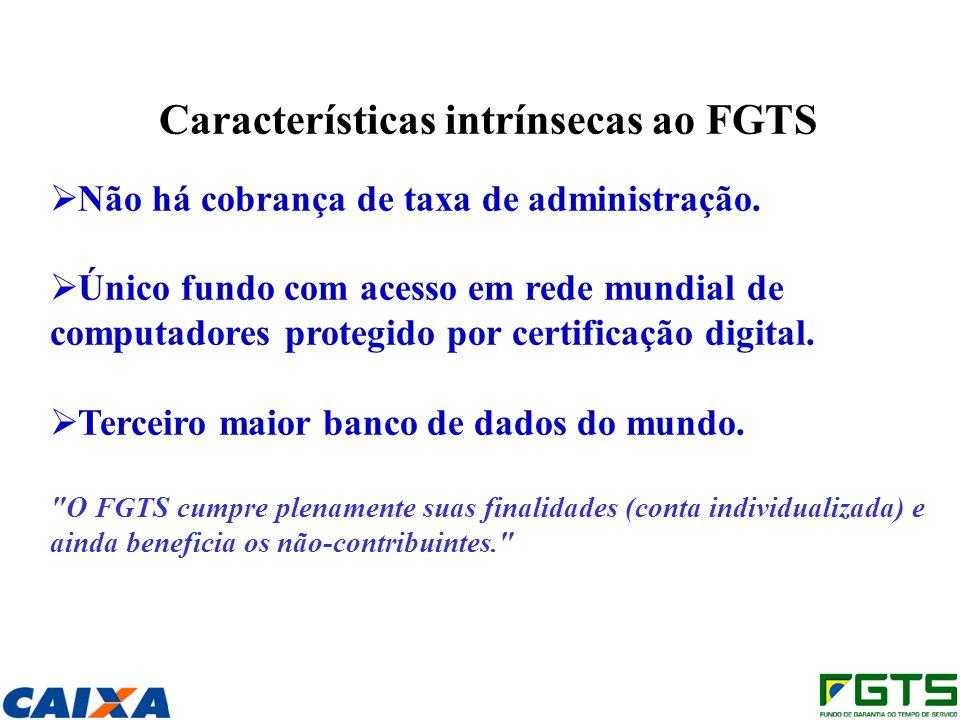 Características intrínsecas ao FGTS Não há cobrança de taxa de administração. Único fundo com acesso em rede mundial de computadores protegido por cer
