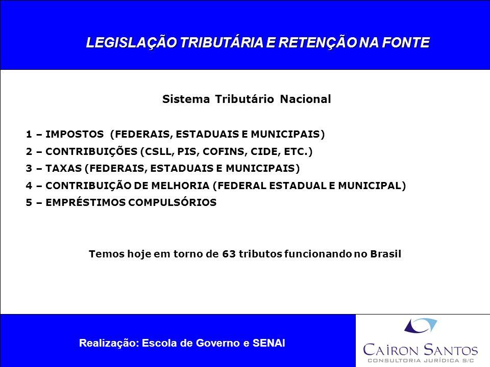 LEGISLAÇÃO TRIBUTÁRIA E RETENÇÃO NA FONTE Realização: Escola de Governo e SENAI Sistema Tributário Nacional IMPOSTOS Temos 13 impostos no Brasil de acordo com a CF/88.