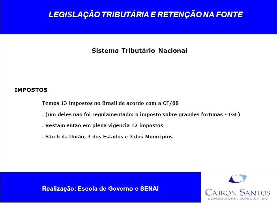 LEGISLAÇÃO TRIBUTÁRIA E RETENÇÃO NA FONTE Realização: Escola de Governo e SENAI Sistema Tributário Nacional IMPOSTOS DA UNIÃO 1.