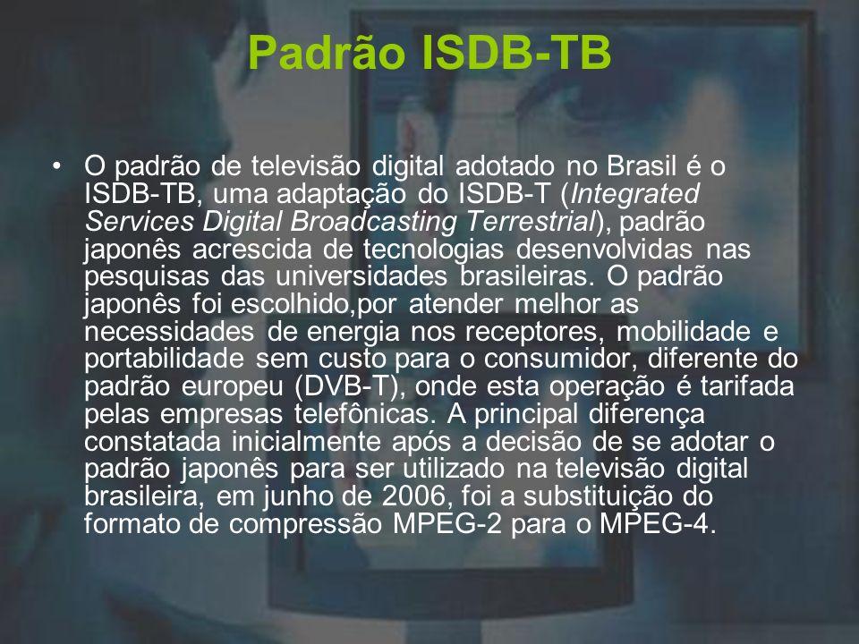 Padrão ISDB-TB O padrão de televisão digital adotado no Brasil é o ISDB-TB, uma adaptação do ISDB-T (Integrated Services Digital Broadcasting Terrestr