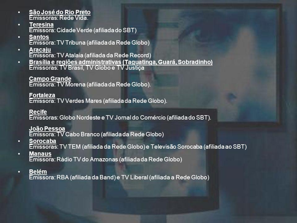 São José do Rio Preto Emissoras: Rede Vida. Teresina Emissora: Cidade Verde (afiliada do SBT) Santos Emissora: TV Tribuna (afiliada da Rede Globo) Ara