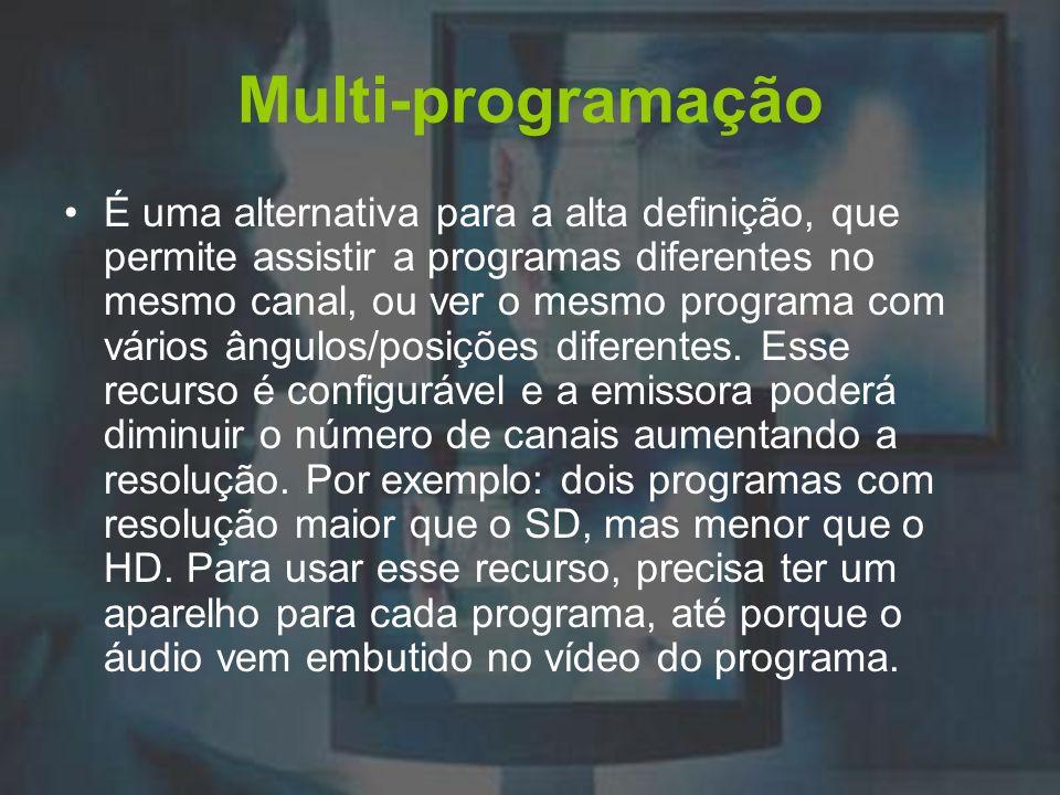Multi-programação É uma alternativa para a alta definição, que permite assistir a programas diferentes no mesmo canal, ou ver o mesmo programa com vár