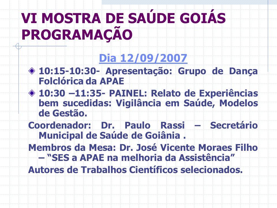 VI MOSTRA DE SAÚDE GOIÁS PROGRAMAÇÃO DIA 12/09/2007 11:35-12:00- Debates 12:00- 14:00 Intervalo para Almoço 14:00-16:20 – Mesa redonda: Os 20 anos do Acidente do Césio em Goiás- Vigilância Ambiental e os Riscos para a saúde.