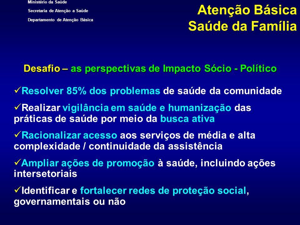 Ministério da Saúde Secretaria de Atenção a Saúde Departamento de Atenção Básica Desafio – as perspectivas de Impacto Sócio - Político Resolver 85% do