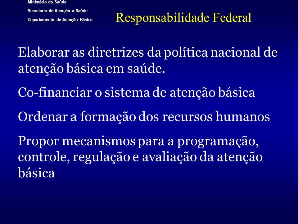Ministério da Saúde Secretaria de Atenção a Saúde Departamento de Atenção Básica Responsabilidade Federal Elaborar as diretrizes da política nacional