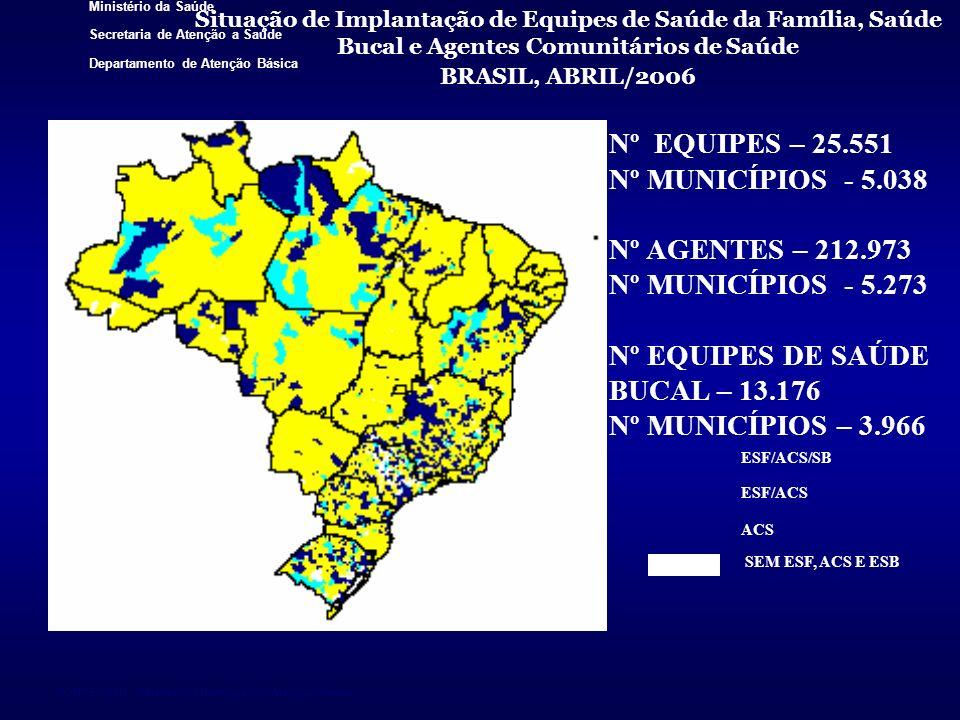 Ministério da Saúde Secretaria de Atenção a Saúde Departamento de Atenção Básica FONTE: SIAB - Sistema de Informação da Atenção Básica Situação de Imp