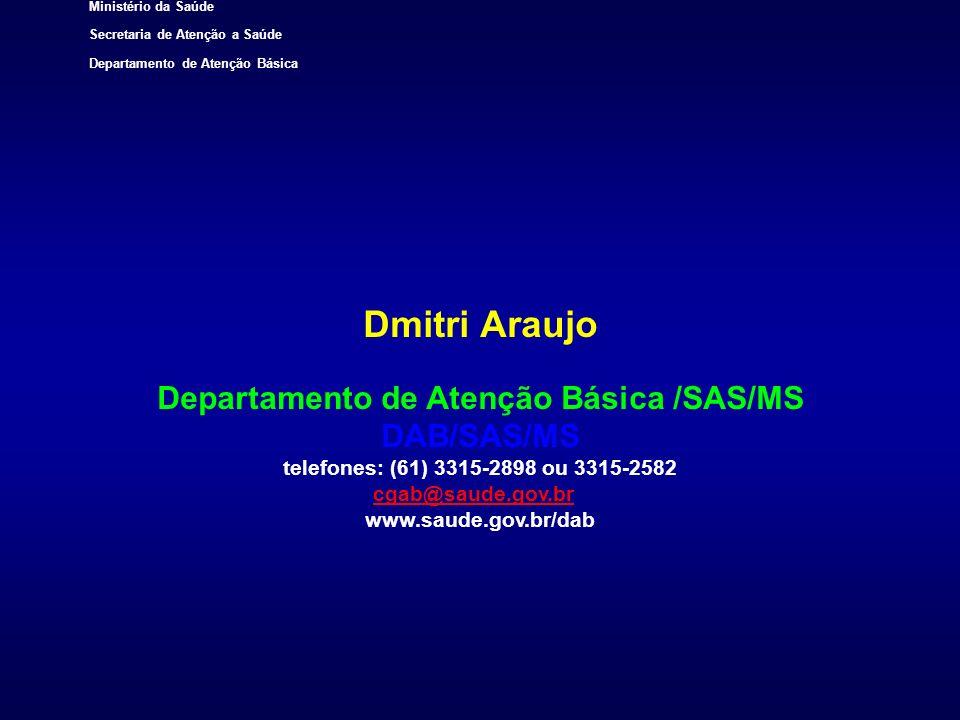 Ministério da Saúde Secretaria de Atenção a Saúde Departamento de Atenção Básica Dmitri Araujo Departamento de Atenção Básica /SAS/MS DAB/SAS/MS telef