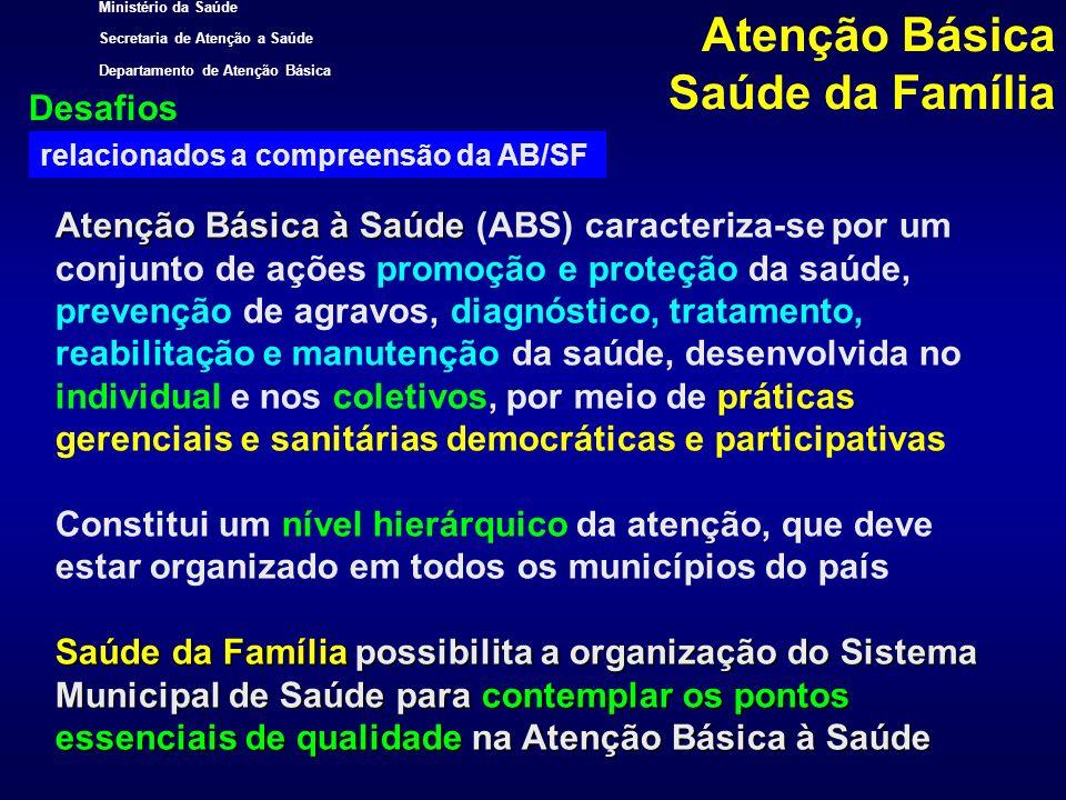 Ministério da Saúde Secretaria de Atenção a Saúde Departamento de Atenção Básica Situação atual de implantação da Estratégia de Saúde da Família no Brasil