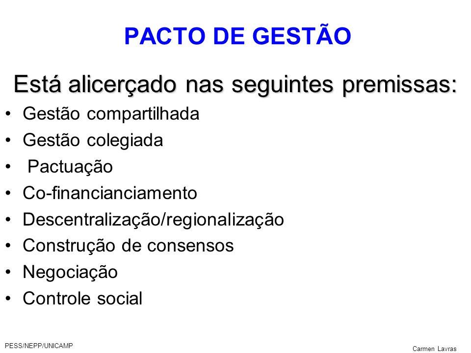 PESS/NEPP/UNICAMP Carmen Lavras PLANO DE SAÚDE - RMC PACTO DE GESTÃO Está alicerçado nas seguintes premissas: Gestão compartilhada Gestão colegiada Pa