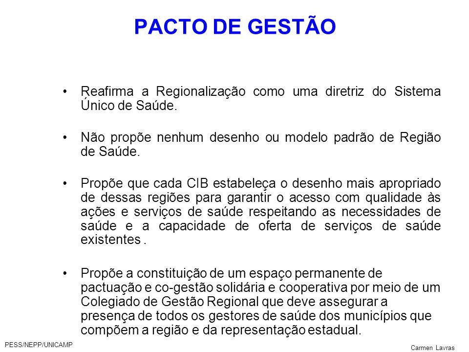 PESS/NEPP/UNICAMP Carmen Lavras PACTO DE GESTÃO Reafirma a Regionalização como uma diretriz do Sistema Único de Saúde. Não propõe nenhum desenho ou mo