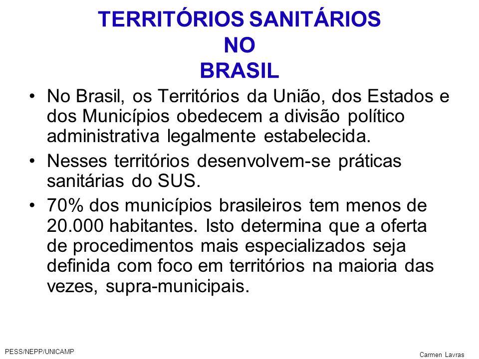 PESS/NEPP/UNICAMP Carmen Lavras TERRITÓRIOS SANITÁRIOS NO BRASIL No Brasil, os Territórios da União, dos Estados e dos Municípios obedecem a divisão p