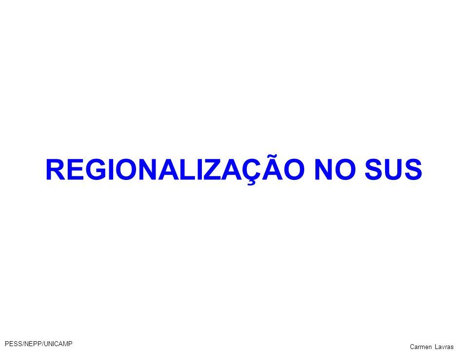 PESS/NEPP/UNICAMP Carmen Lavras REGIONALIZAÇÃO NO SUS