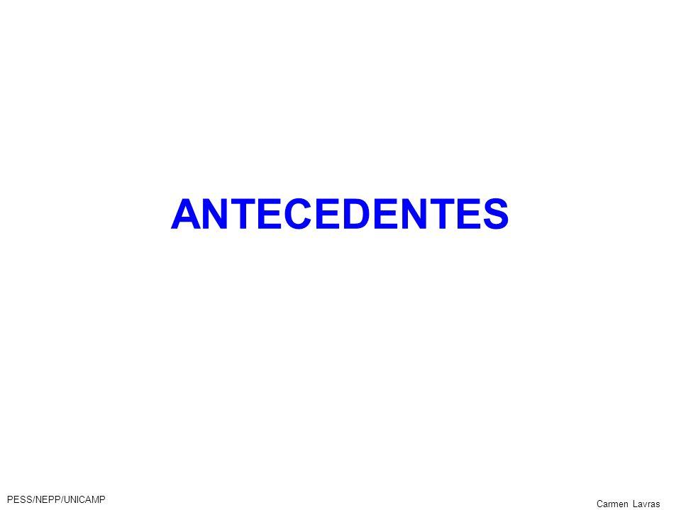 PESS/NEPP/UNICAMP Carmen Lavras ANTECEDENTES