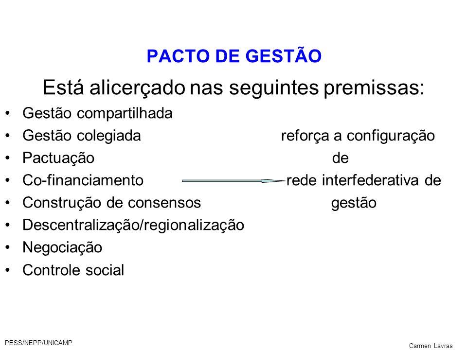 PESS/NEPP/UNICAMP Carmen Lavras PACTO DE GESTÃO Está alicerçado nas seguintes premissas: Gestão compartilhada Gestão colegiada reforça a configuração