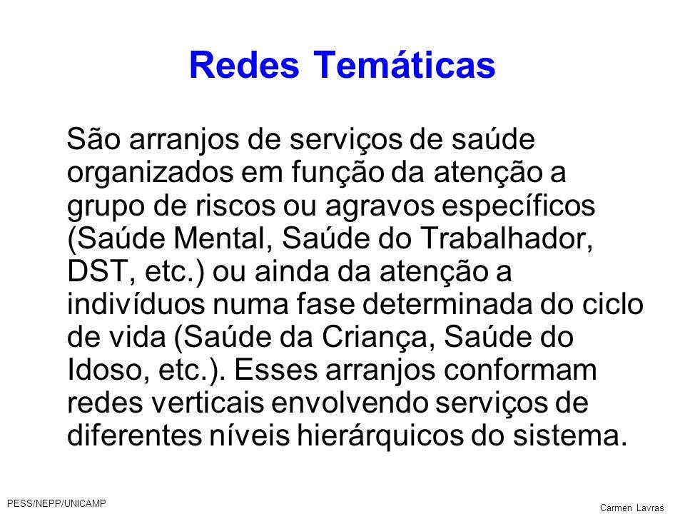 PESS/NEPP/UNICAMP Carmen Lavras Redes Temáticas São arranjos de serviços de saúde organizados em função da atenção a grupo de riscos ou agravos especí