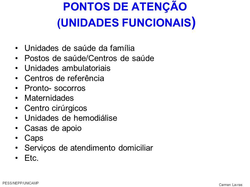 PESS/NEPP/UNICAMP Carmen Lavras PONTOS DE ATENÇÃO (UNIDADES FUNCIONAIS ) Unidades de saúde da família Postos de saúde/Centros de saúde Unidades ambula