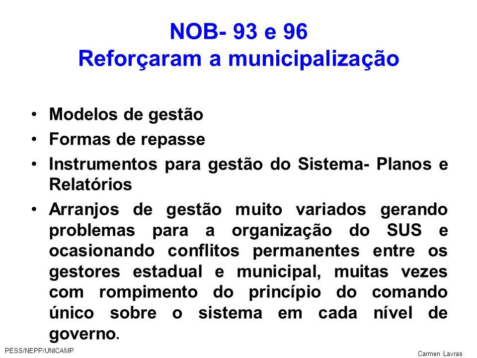 PESS/NEPP/UNICAMP Carmen Lavras NOB- 93 e 96 Reforçaram a municipalização Modelos de gestão Formas de repasse Instrumentos para gestão do Sistema- Pla