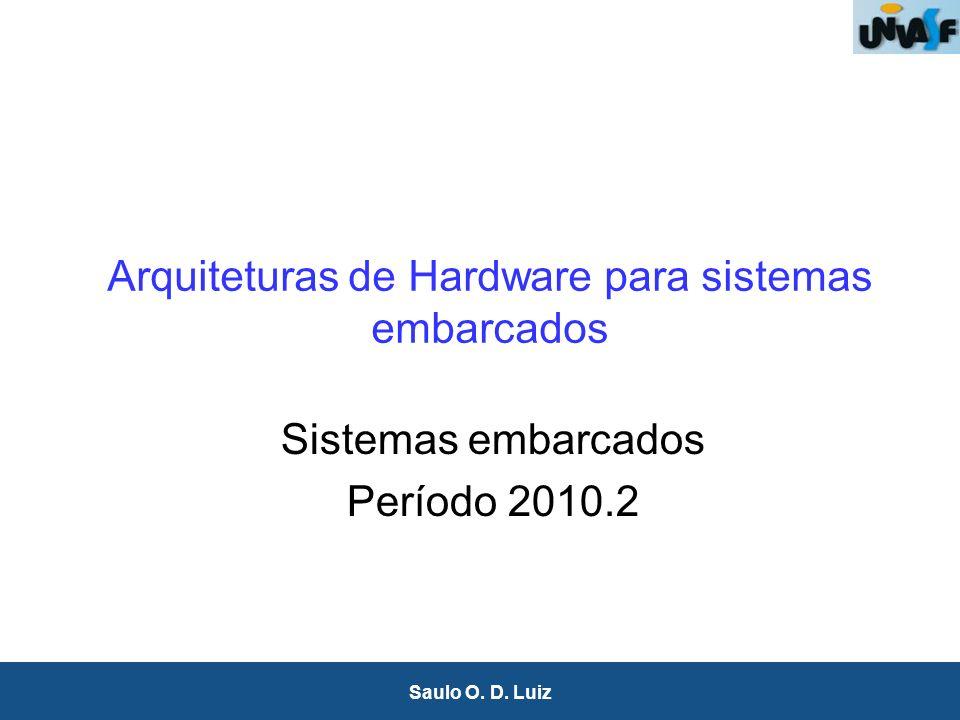 1 Saulo O. D. Luiz Arquiteturas de Hardware para sistemas embarcados Sistemas embarcados Período 2010.2