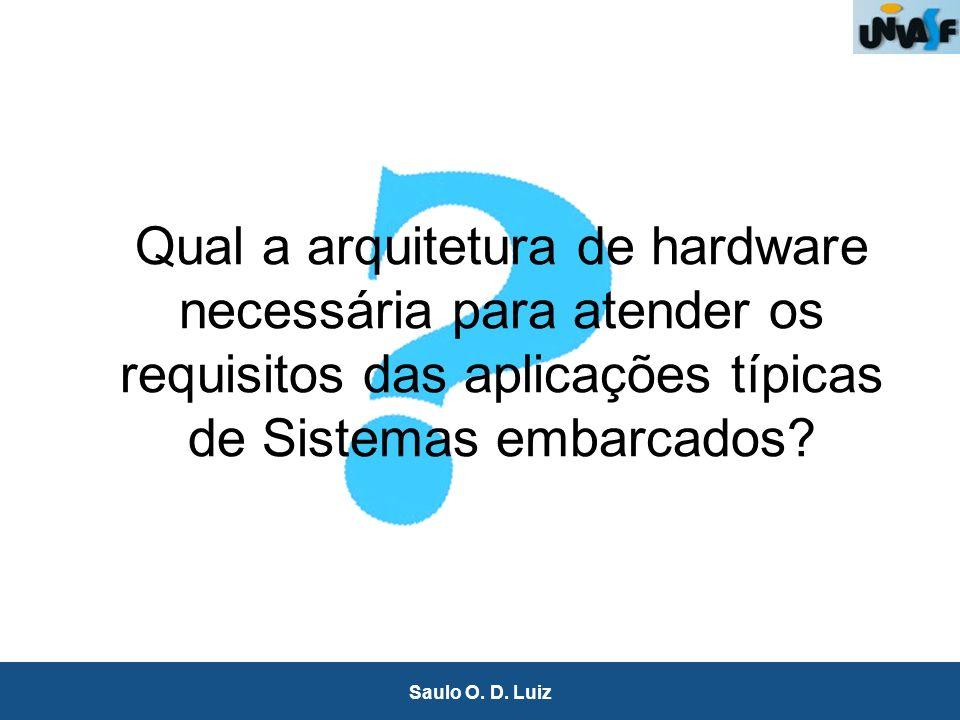 12 Saulo O. D. Luiz Qual a arquitetura de hardware necessária para atender os requisitos das aplicações típicas de Sistemas embarcados?