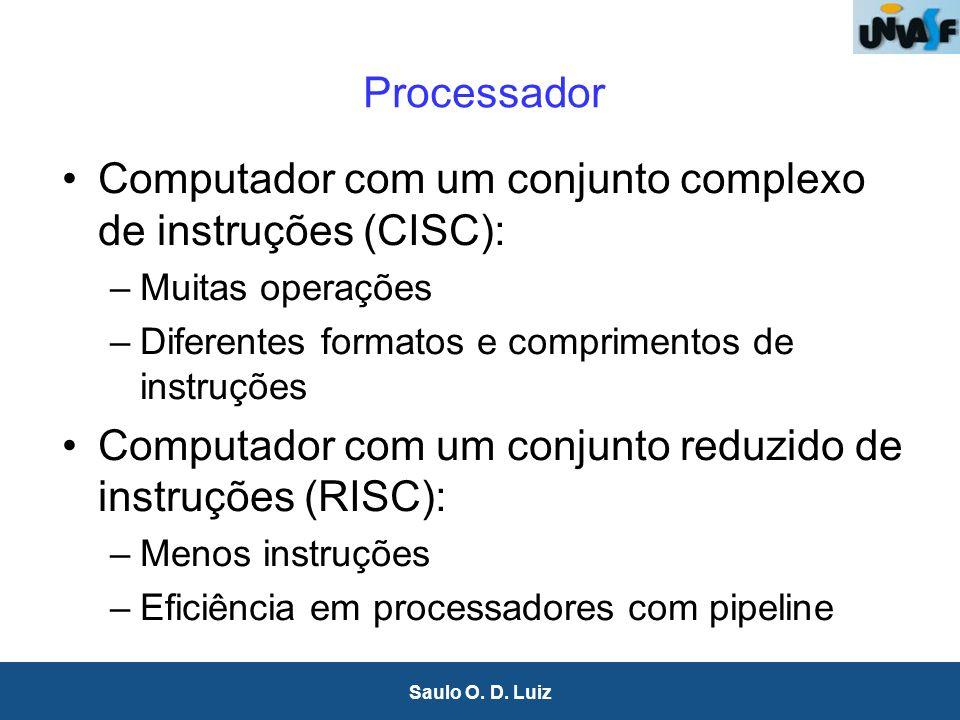 13 Saulo O. D. Luiz Processador Computador com um conjunto complexo de instruções (CISC): –Muitas operações –Diferentes formatos e comprimentos de ins