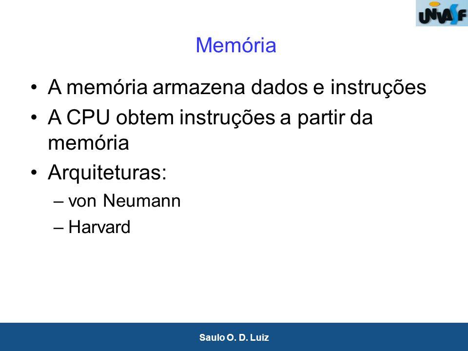 14 Saulo O. D. Luiz Memória A memória armazena dados e instruções A CPU obtem instruções a partir da memória Arquiteturas: –von Neumann –Harvard