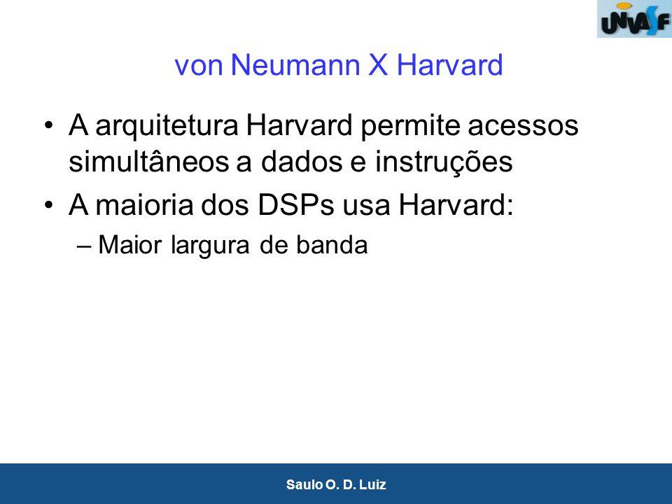17 Saulo O. D. Luiz von Neumann X Harvard A arquitetura Harvard permite acessos simultâneos a dados e instruções A maioria dos DSPs usa Harvard: –Maio