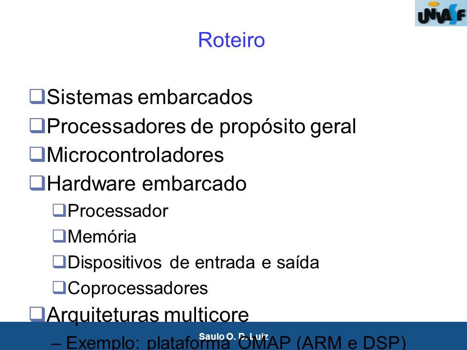 2 Saulo O. D. Luiz Roteiro Sistemas embarcados Processadores de propósito geral Microcontroladores Hardware embarcado Processador Memória Dispositivos