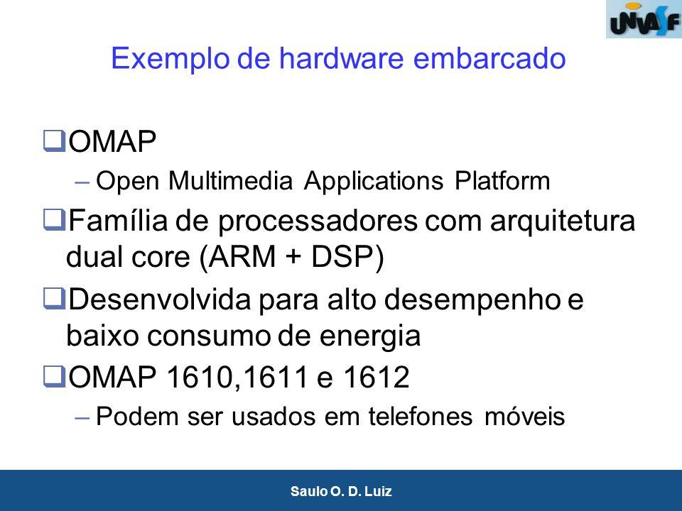 21 Saulo O. D. Luiz Exemplo de hardware embarcado OMAP –Open Multimedia Applications Platform Família de processadores com arquitetura dual core (ARM