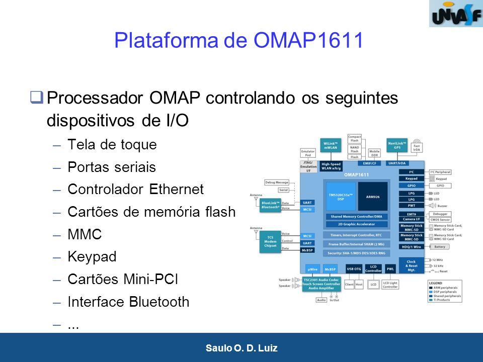 25 Saulo O. D. Luiz Plataforma de OMAP1611 Processador OMAP controlando os seguintes dispositivos de I/O –Tela de toque –Portas seriais –Controlador E