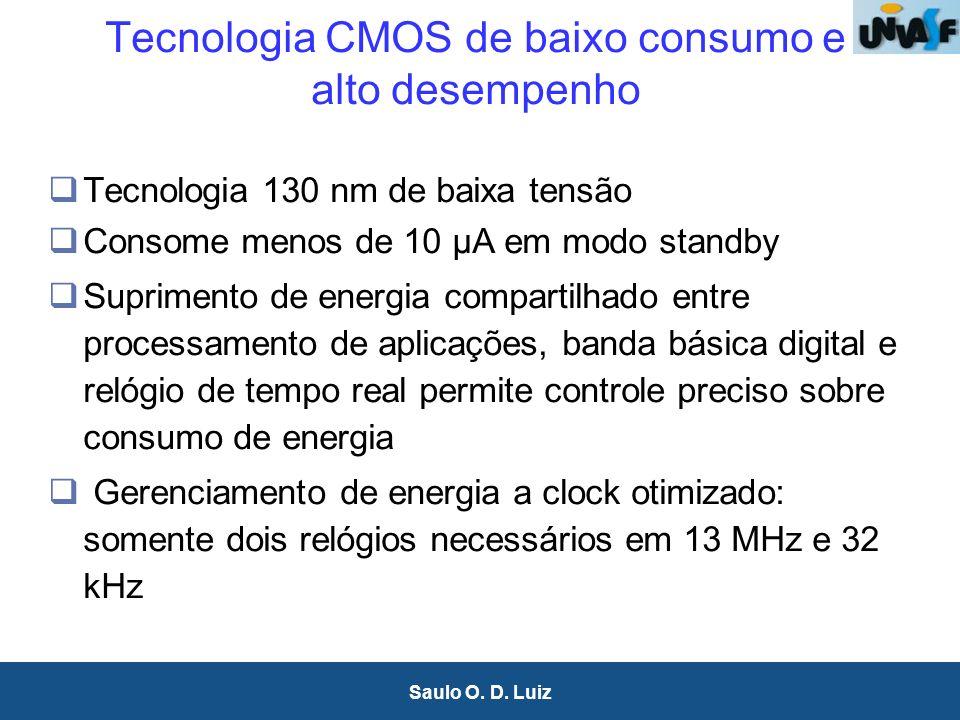 26 Saulo O. D. Luiz Tecnologia CMOS de baixo consumo e alto desempenho Tecnologia 130 nm de baixa tensão Consome menos de 10 µA em modo standby Suprim