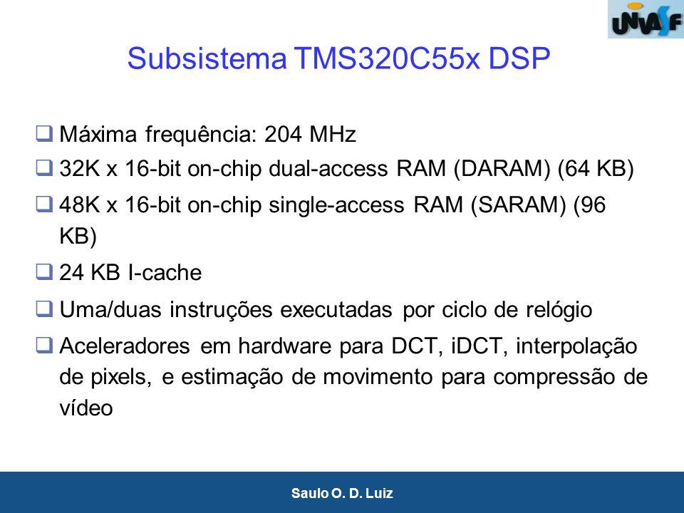 28 Saulo O. D. Luiz Subsistema TMS320C55x DSP Máxima frequência: 204 MHz 32K x 16-bit on-chip dual-access RAM (DARAM) (64 KB) 48K x 16-bit on-chip sin