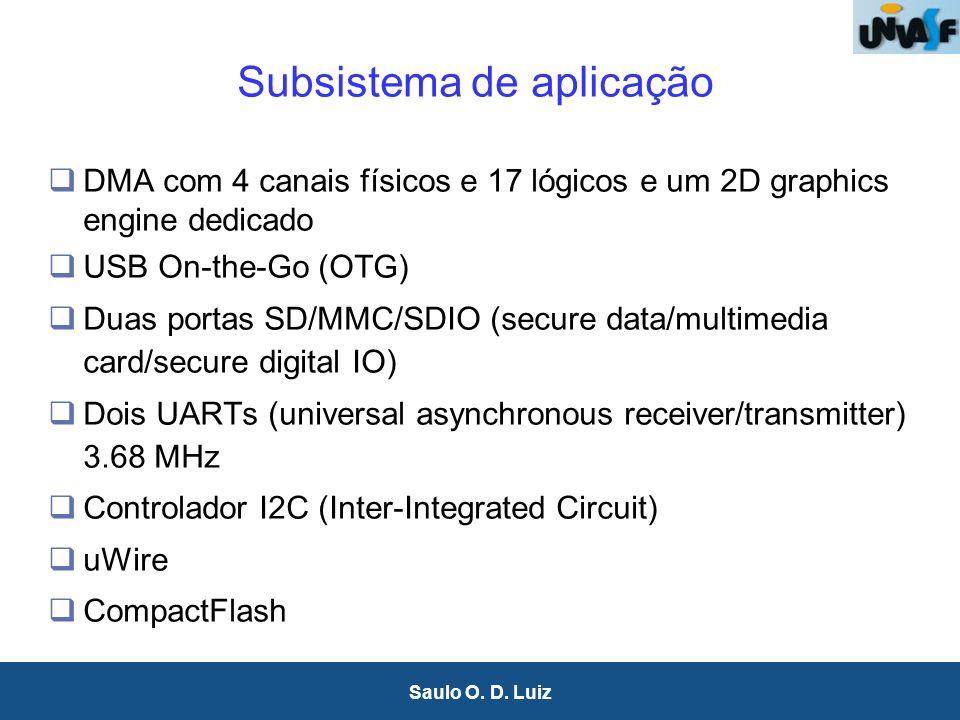 29 Saulo O. D. Luiz Subsistema de aplicação DMA com 4 canais físicos e 17 lógicos e um 2D graphics engine dedicado USB On-the-Go (OTG) Duas portas SD/