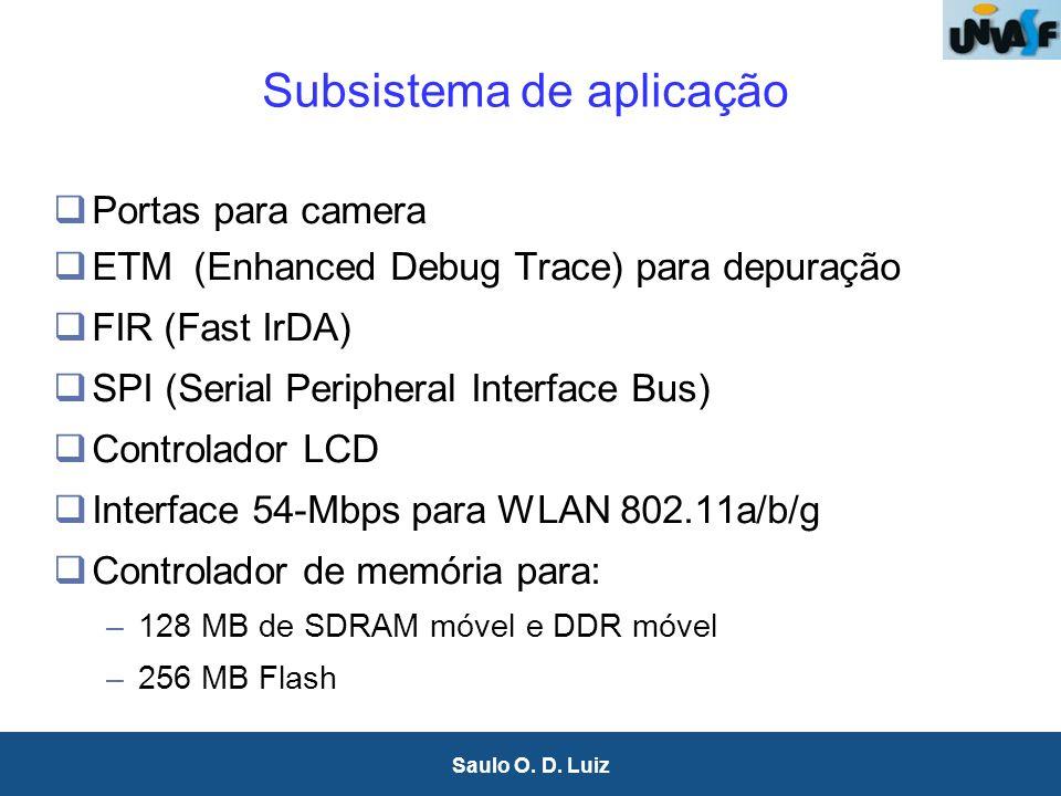 30 Saulo O. D. Luiz Subsistema de aplicação Portas para camera ETM (Enhanced Debug Trace) para depuração FIR (Fast IrDA) SPI (Serial Peripheral Interf