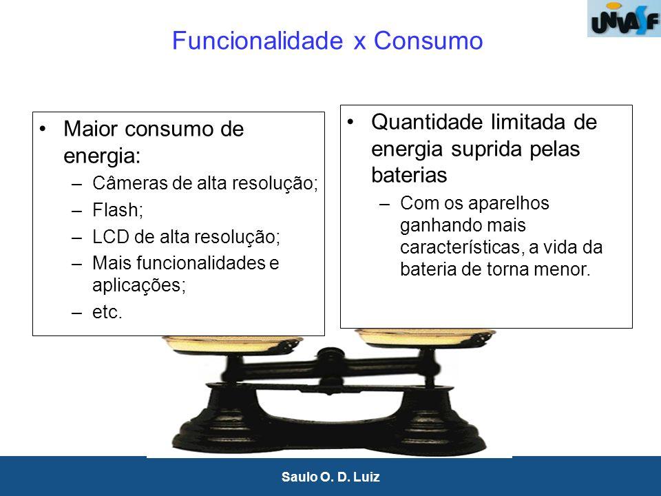 33 Saulo O. D. Luiz Funcionalidade x Consumo Maior consumo de energia: –Câmeras de alta resolução; –Flash; –LCD de alta resolução; –Mais funcionalidad